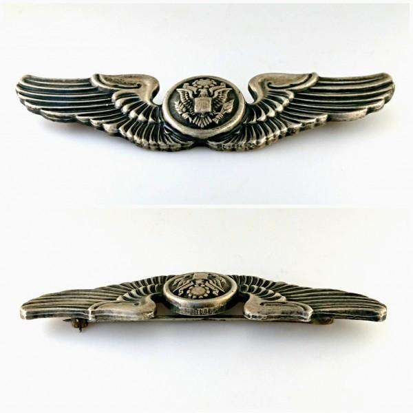 WW2 US ARMY AIR FORCES シルバー製 エアクルー ウイング フルサイズ章 USAAF ビンテージ ピン エアフォース バッジ 米軍 徽章 ミリタリー_画像6