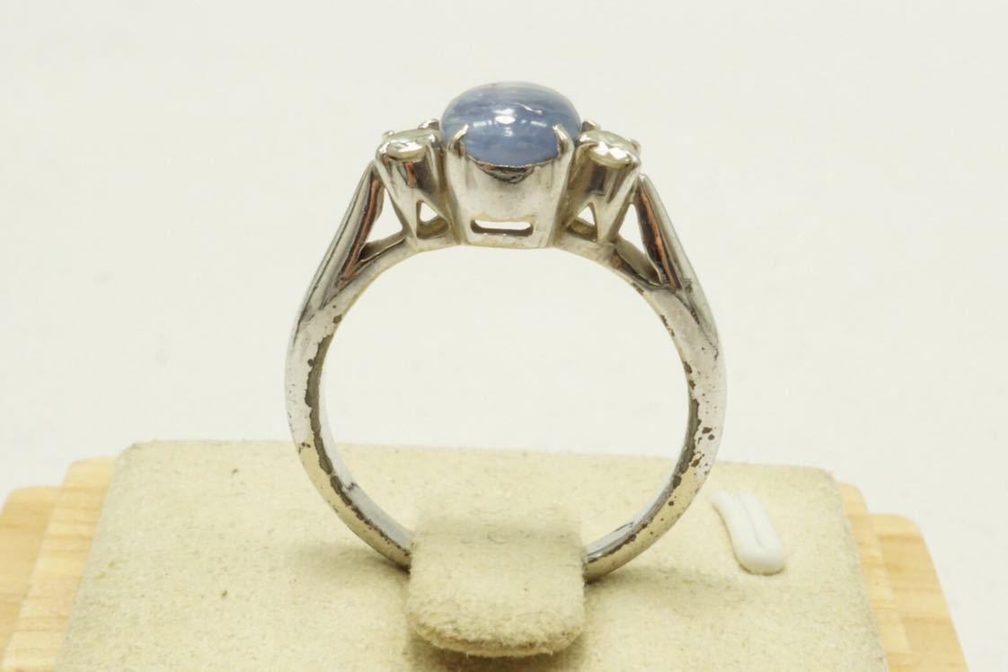 14A 天然スターサファイア 脇石 天然ダイヤモンド ヴィンテージリング 指輪 アクセサリー アンティーク ビンテージ カラーストーン_画像8