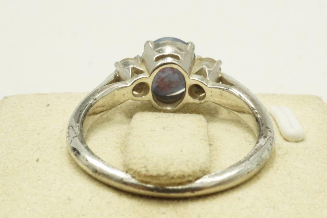 14A 天然スターサファイア 脇石 天然ダイヤモンド ヴィンテージリング 指輪 アクセサリー アンティーク ビンテージ カラーストーン_画像9