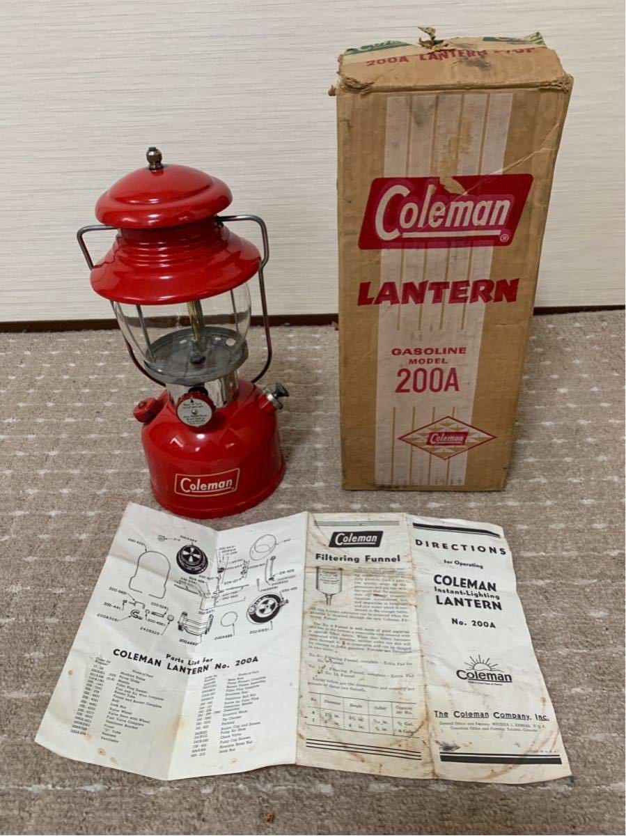 ヴィンテージ コールマン 200A イエローデカール 初期型 58年10月製 当時物オリジナルグローブ 超美品 元箱取説書付 程度良好 整備済