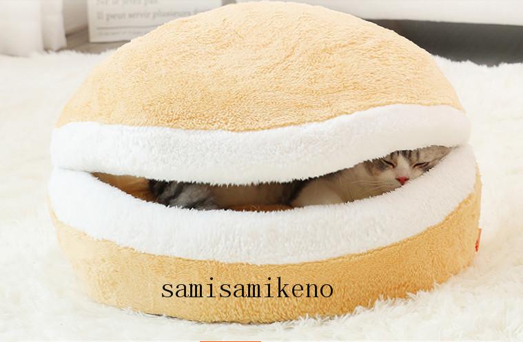 ペット用 ネコハウス 猫のベッド ハンバーグベッド キャットハウス ふわふわ クッション付き 取り外し可能 洗濯可能 四季通用P017_画像4