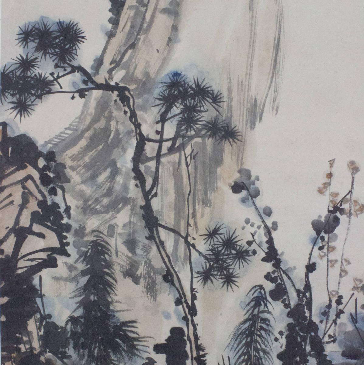 【掛け軸】★極品☆珍品★《潘天壽 秋山圖》 中国古玩 時代保証 古美術 書畫家 肉筆 紙本_画像5