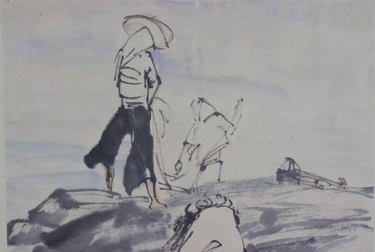【掛け軸】★極品☆珍品★《黄胄 漁人收網圖》 中国古玩 時代保証 古美術 書畫家 肉筆 紙本_画像3