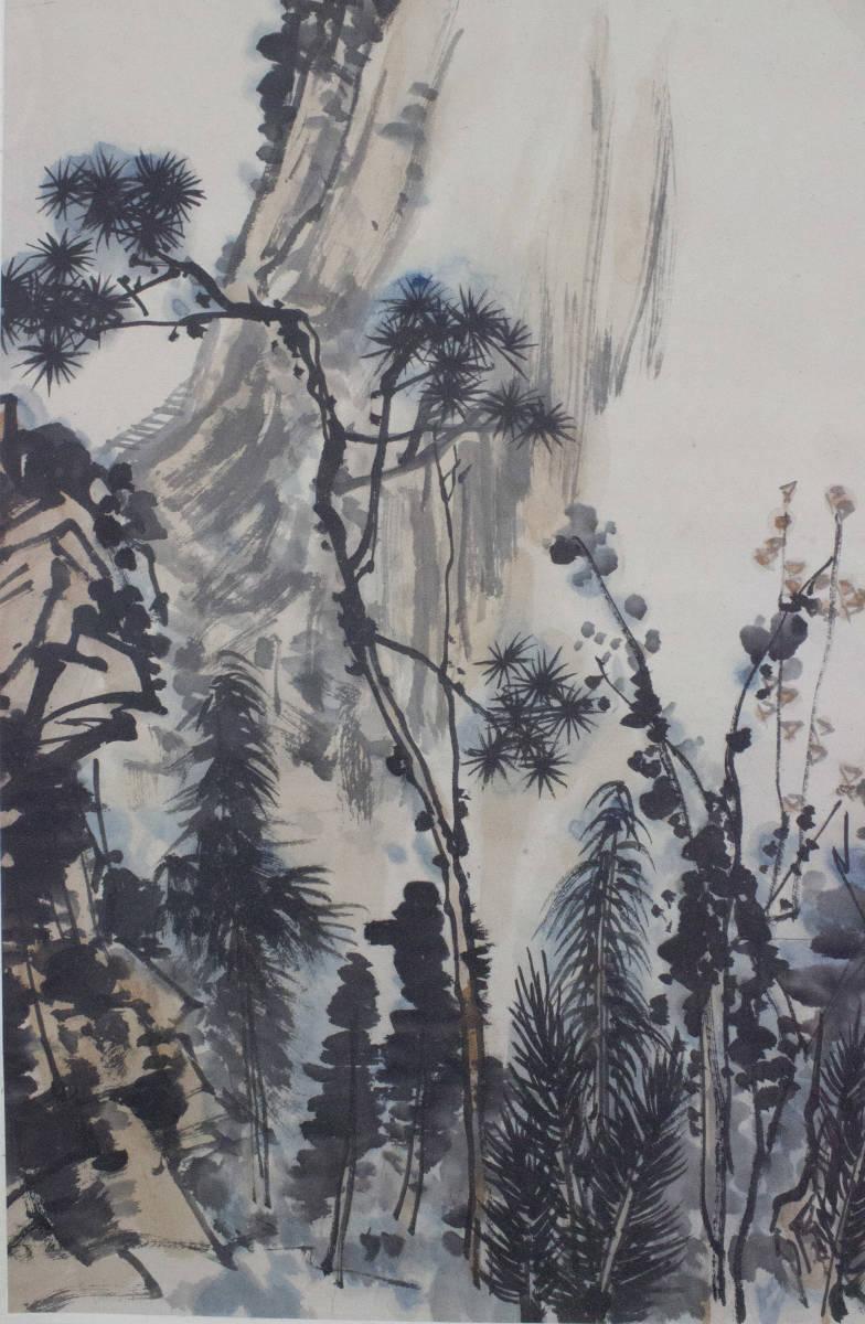 【掛け軸】★極品☆珍品★《潘天壽 秋山圖》 中国古玩 時代保証 古美術 書畫家 肉筆 紙本_画像4