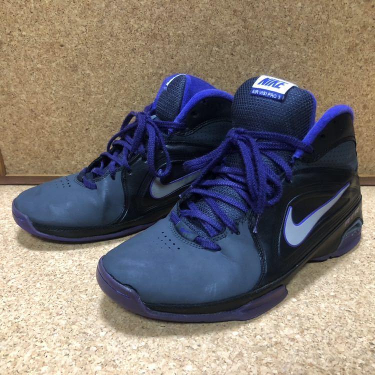 ナイキ Nike AIR VISI PRO3 パープル×ブラック×グレー 27cm USED
