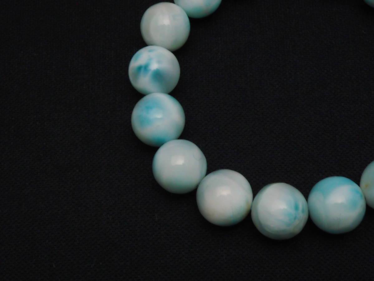 【新品】極上高級天然宝石 ラリマー ドミニカ共和国産 ブレス 12mm ブルー・ペクトライト パワーストーン larimar メンズ 愛と平和 B2_画像4