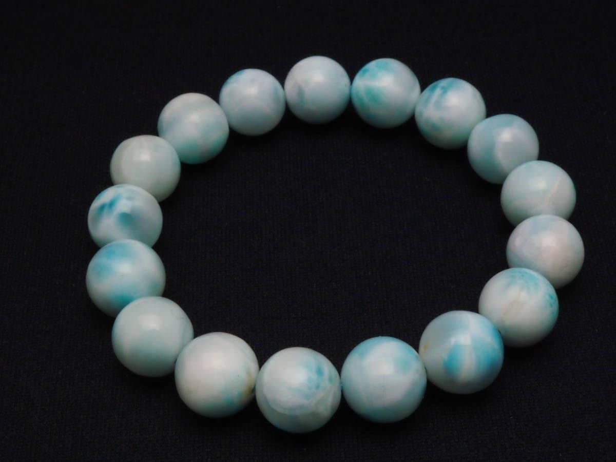 【新品】極上高級天然宝石 ラリマー ドミニカ共和国産 ブレス 12mm ブルー・ペクトライト パワーストーン larimar メンズ 愛と平和 B2_画像6