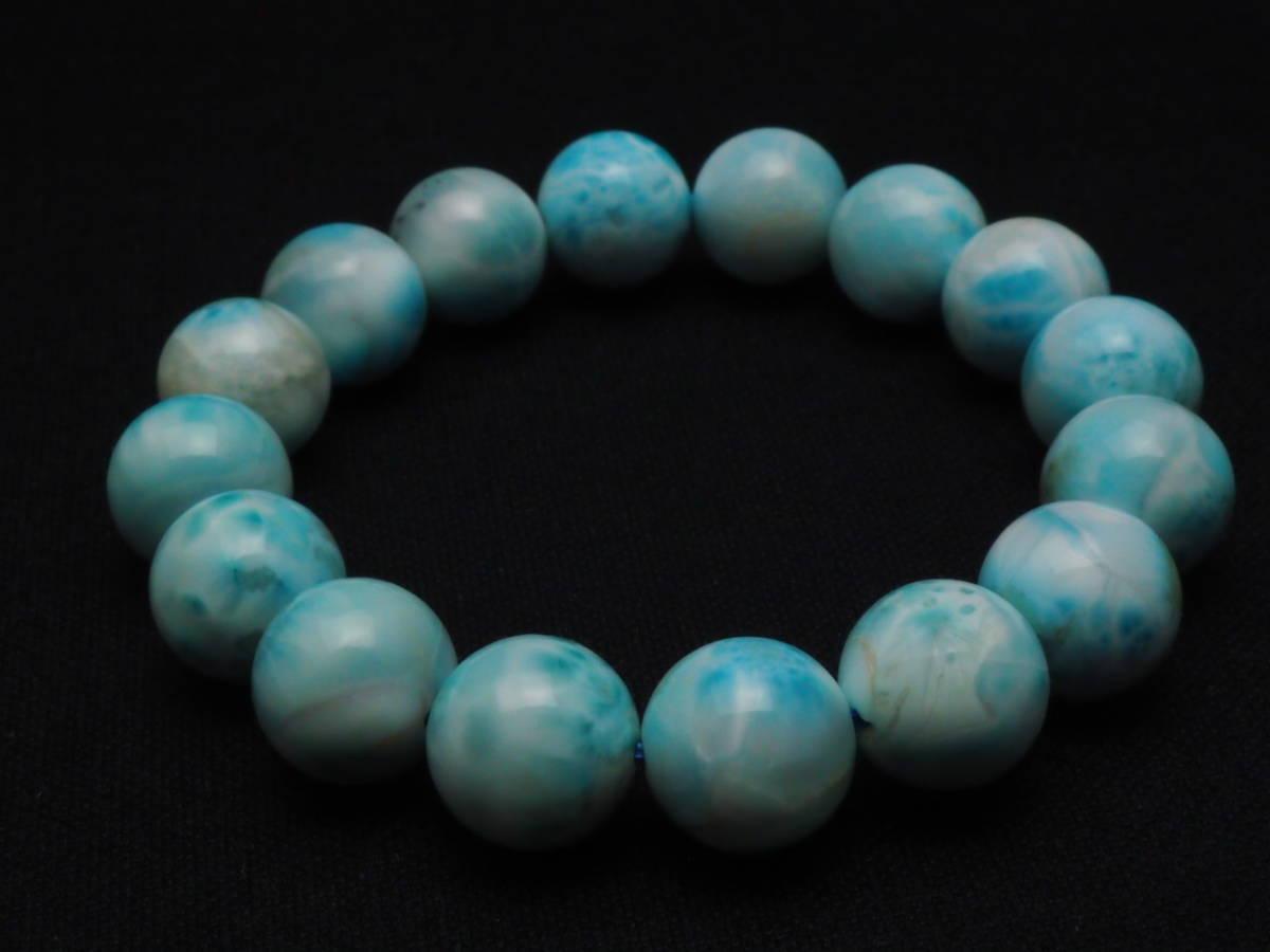 【新品】極上高級天然宝石 ラリマー ドミニカ共和国産 ブレス 13mm ブルー・ペクトライト パワーストーン larimar メンズ 愛と平和 C2_画像6