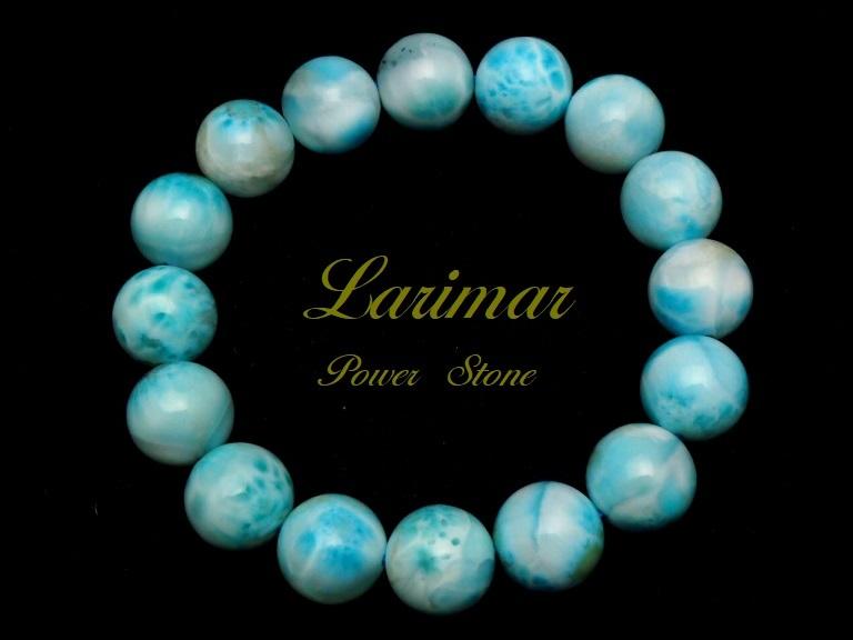 【新品】極上高級天然宝石 ラリマー ドミニカ共和国産 ブレス 13mm ブルー・ペクトライト パワーストーン larimar メンズ 愛と平和 C2