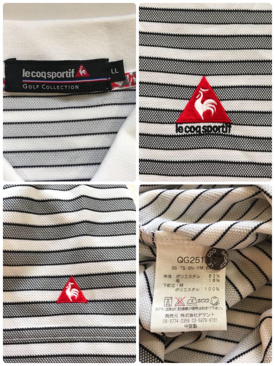 Le Coq le coq sportif Le Coq s Porte .f polo-shirt with short sleeves men's LL size border Golf wear -