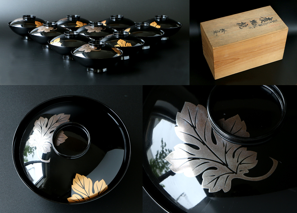 最高級 能登輪島特製 輪島塗 本漆塗 菊の葉文様 金銀蒔絵 煮物椀 10客組 共箱