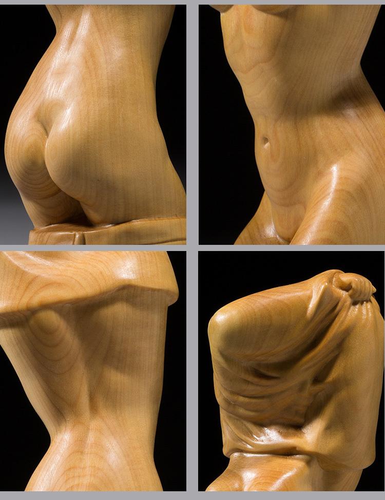★天然木彫り 根付 提げ物 ◆服を脱ぐ美人 性感_画像6