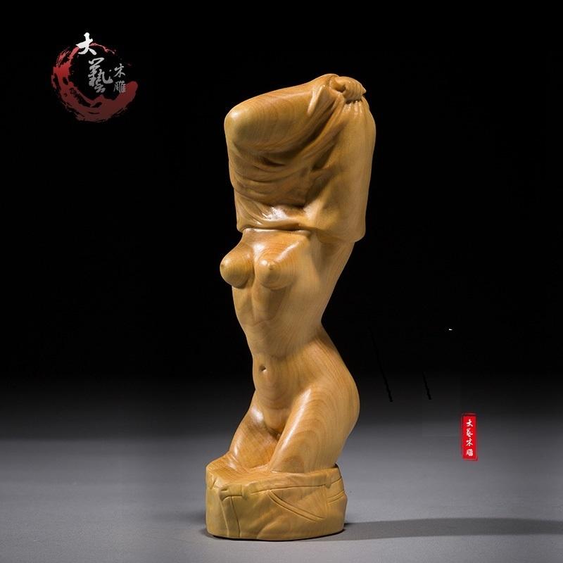 ★天然木彫り 根付 提げ物 ◆服を脱ぐ美人 性感_画像2