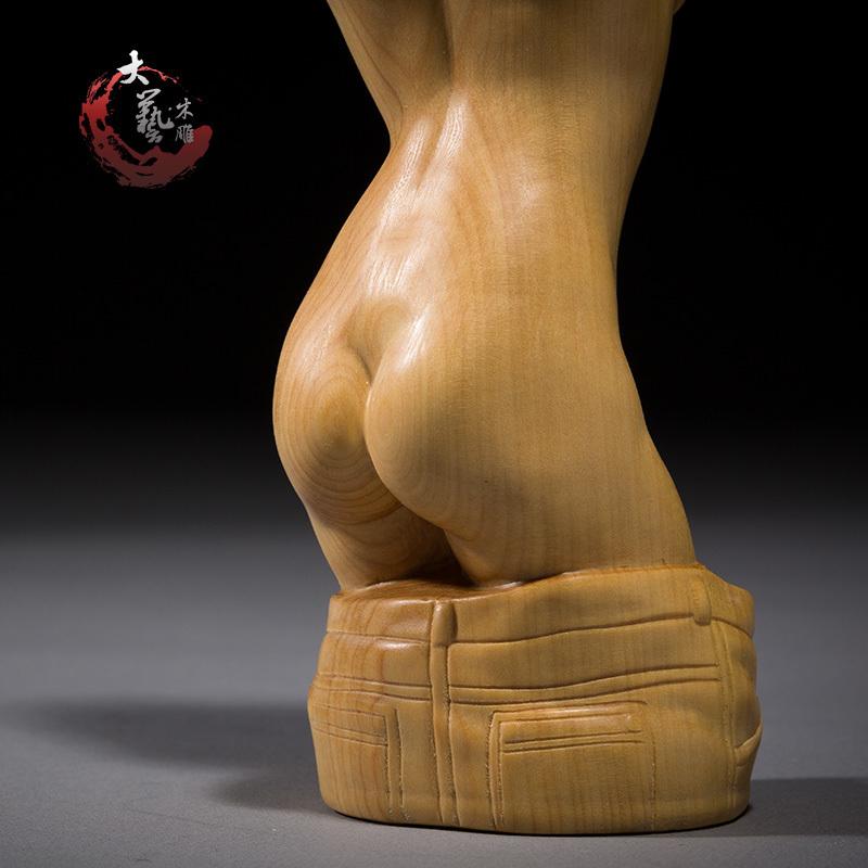★天然木彫り 根付 提げ物 ◆服を脱ぐ美人 性感_画像5
