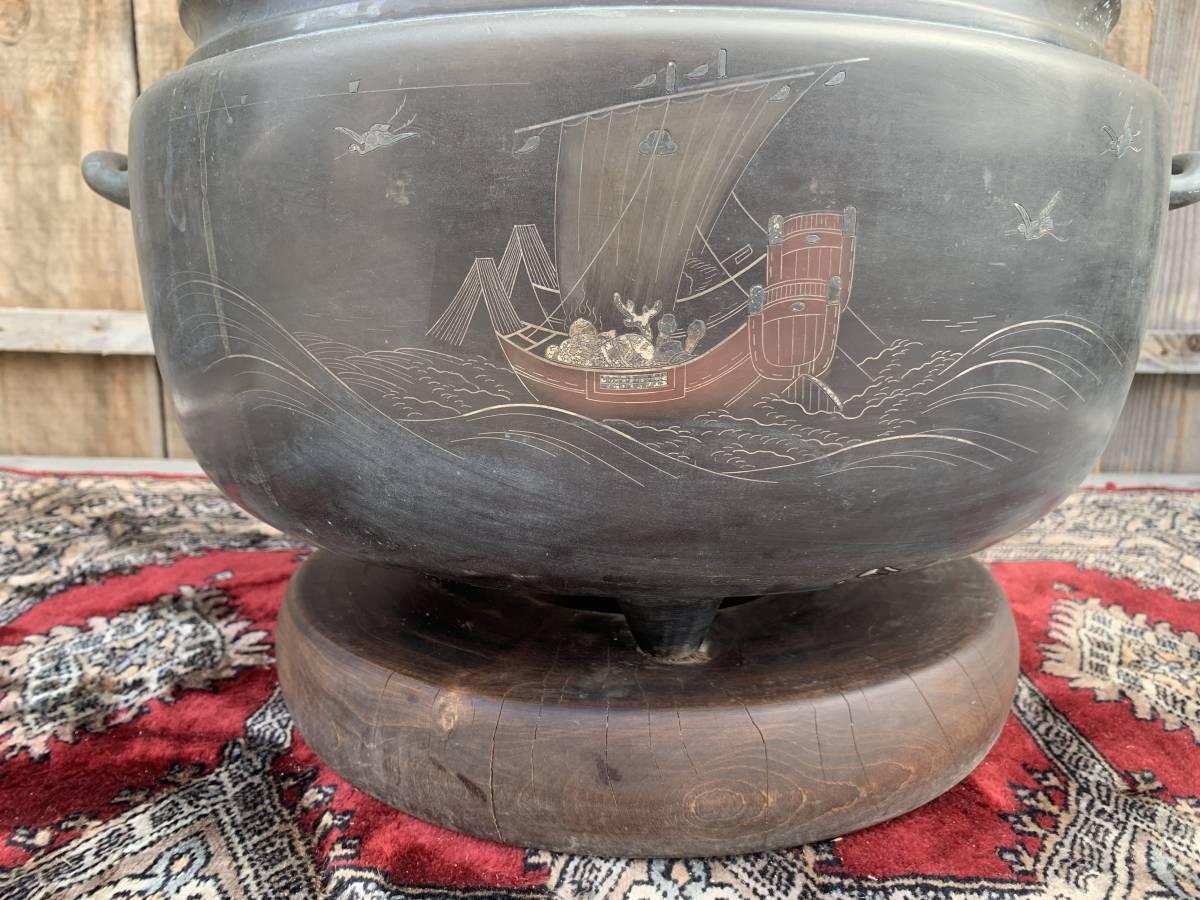 ・☆☆ 送料無料 昭和 アンティーク レトロ 火鉢 丸火鉢 囲炉裏 古民具_画像3