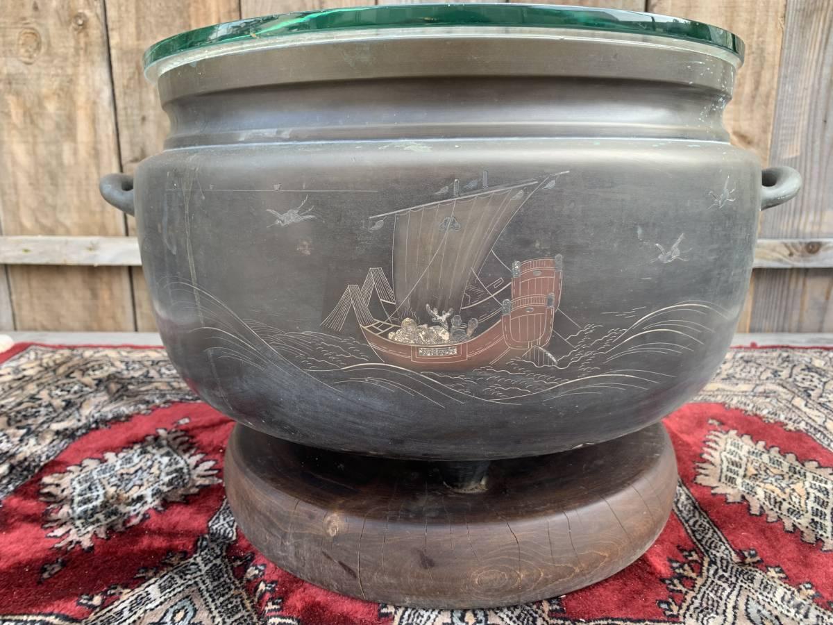 ・☆☆ 送料無料 昭和 アンティーク レトロ 火鉢 丸火鉢 囲炉裏 古民具_画像2