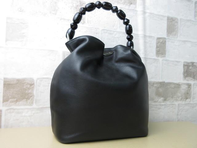 極美品(新品同様)■ディオール Christian Dior■ハンド バッグ CD ブラック レザー 希少鞄 ag3999