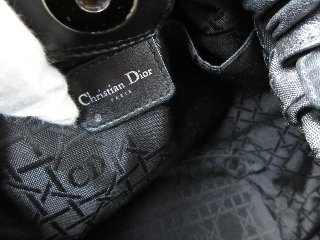 極美品(新品同様)■ディオール Christian Dior■ハンド バッグ CD ブラック レザー 希少鞄 ag3999_画像9