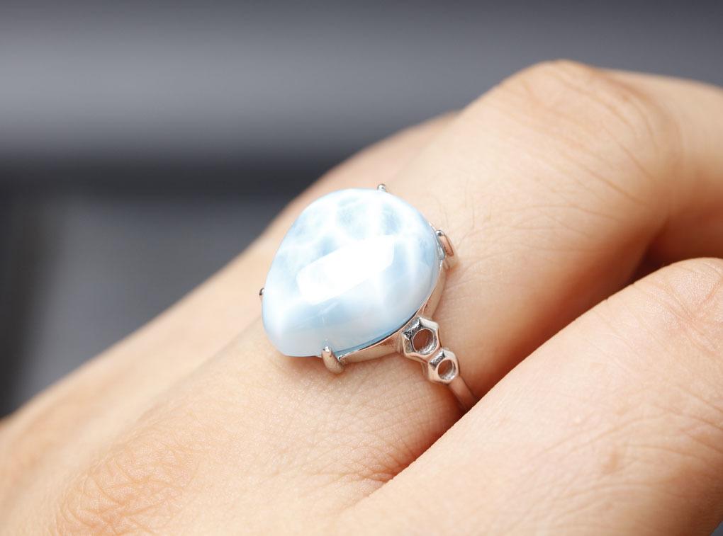 ラリマーの指輪 パワーストーン 愛と平和の石 超綺麗 シルバー925 サイズフリー 箱付/hwsjz4_画像6