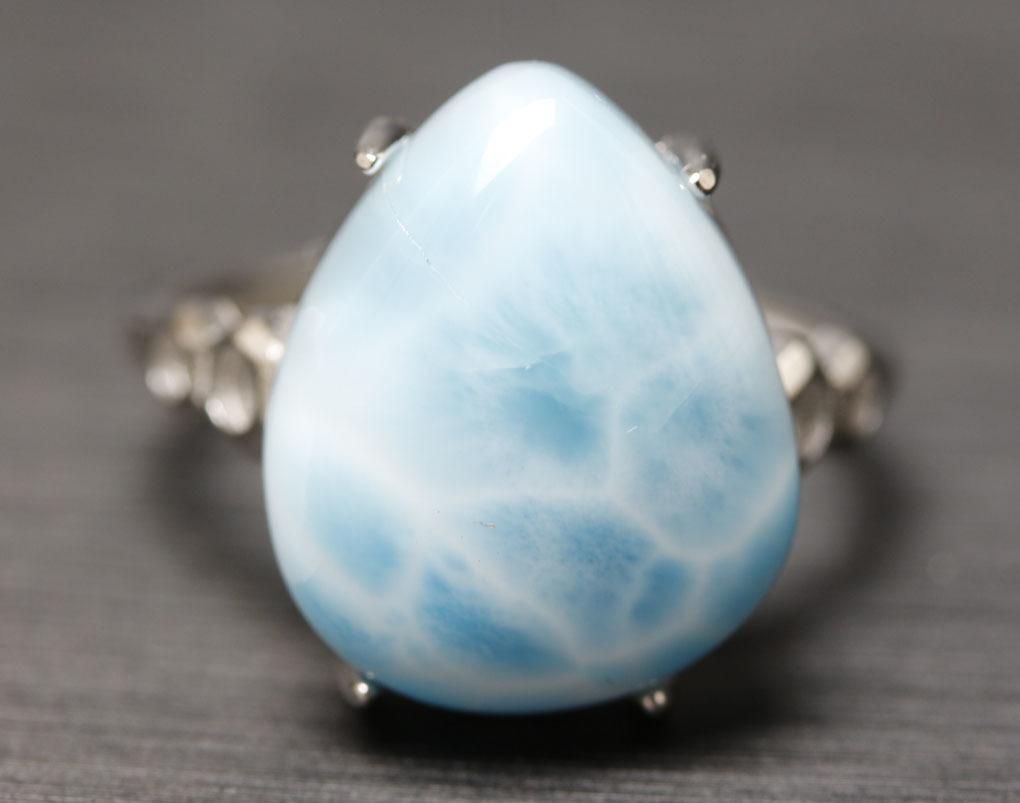 ラリマーの指輪 パワーストーン 愛と平和の石 超綺麗 シルバー925 サイズフリー 箱付/hwsjz4_画像2