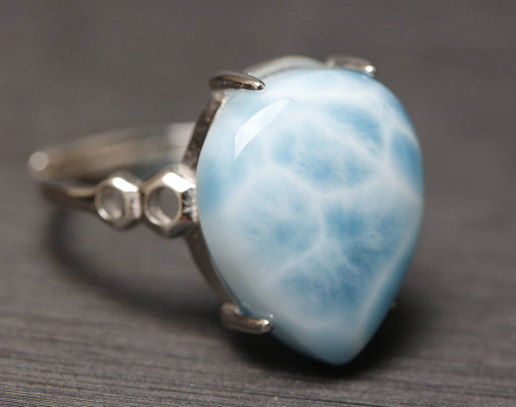 ラリマーの指輪 パワーストーン 愛と平和の石 超綺麗 シルバー925 サイズフリー 箱付/hwsjz4_画像3