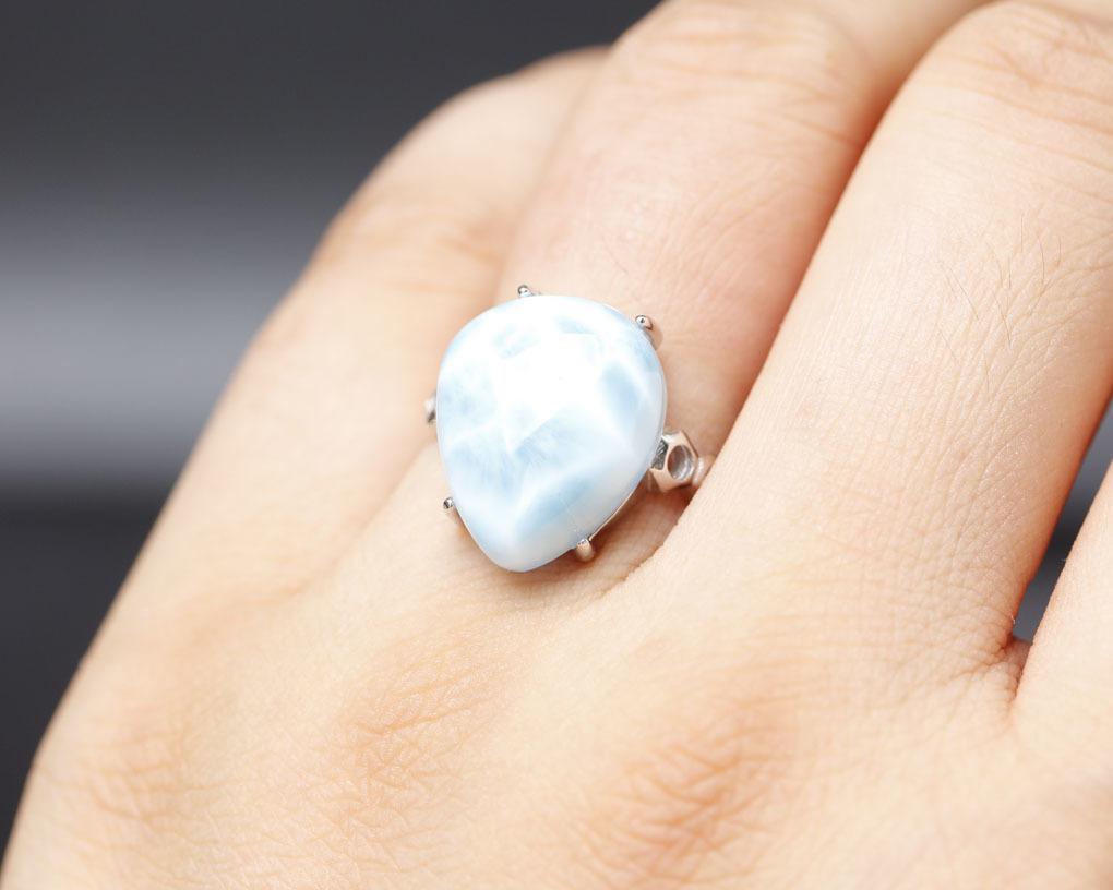 ラリマーの指輪 パワーストーン 愛と平和の石 超綺麗 シルバー925 サイズフリー 箱付/hwsjz4_画像5