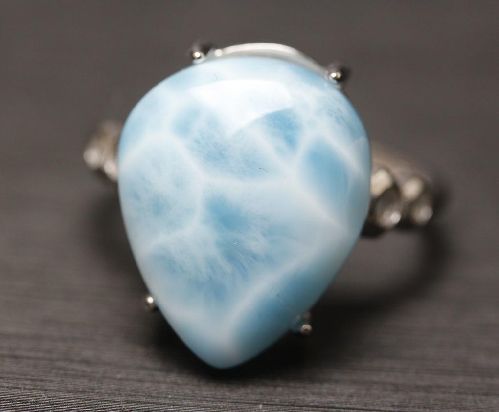 ラリマーの指輪 パワーストーン 愛と平和の石 超綺麗 シルバー925 サイズフリー 箱付/hwsjz4