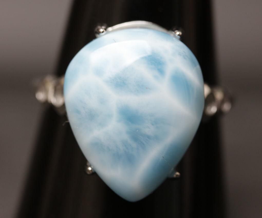 ラリマーの指輪 パワーストーン 愛と平和の石 超綺麗 シルバー925 サイズフリー 箱付/hwsjz4_画像4