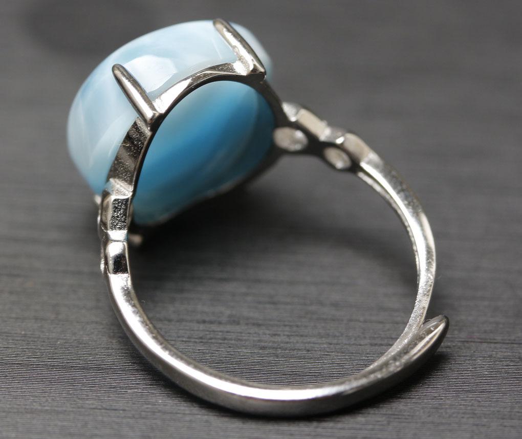 ラリマーの指輪 パワーストーン 愛と平和の石 超綺麗 シルバー925 サイズフリー 箱付/hwsjz4_画像10