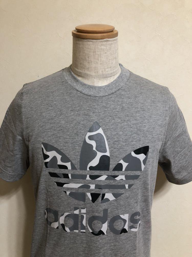 【新品】 adidas originals CAMO TREF TEE アディダス オリジナルス トレフォイル ロゴ カモフラ Tシャツ サイズM 半袖 DH4766 グレー_画像3