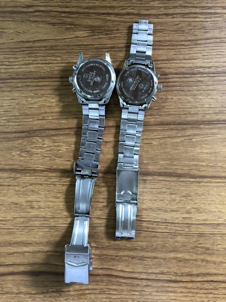 SWISS MILITARY スイスミリタリー メンズ 腕時計 クォーツ 不動 中古 ジャンク 2点 まとめ 現状品_画像3