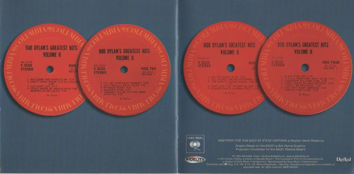 限定番号入りHYBRID SACD「BOB DYLAN'S GREATEST HITS VOL.Ⅱ」_画像8