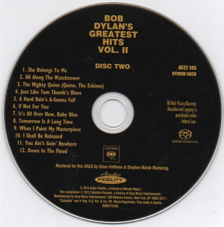 限定番号入りHYBRID SACD「BOB DYLAN'S GREATEST HITS VOL.Ⅱ」_画像10