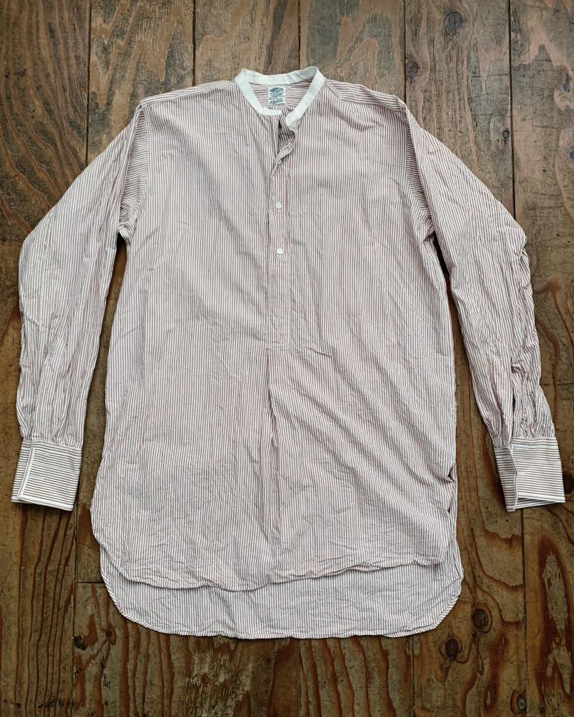【40's50'sイギリスVAN HEUSENストライプノーカラーシャツ ブラウン×白】ヴィンテージドレスシャツロングシャツスモックシャツ英国製_画像5