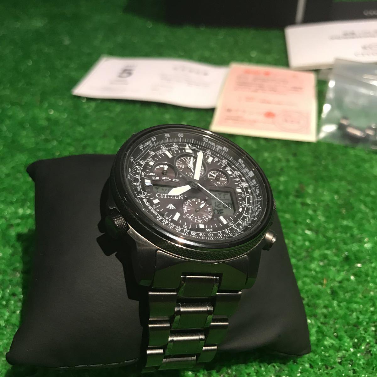 新品同様1円~ 試着程度 シチズン U680-T019692 プロマスター チタン ソーラー 電波時計 アナデジ メンズ腕時計 60サイズ (62)_画像3