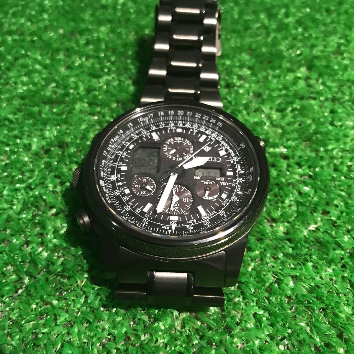 新品同様1円~ 試着程度 シチズン U680-T019692 プロマスター チタン ソーラー 電波時計 アナデジ メンズ腕時計 60サイズ (62)_画像6