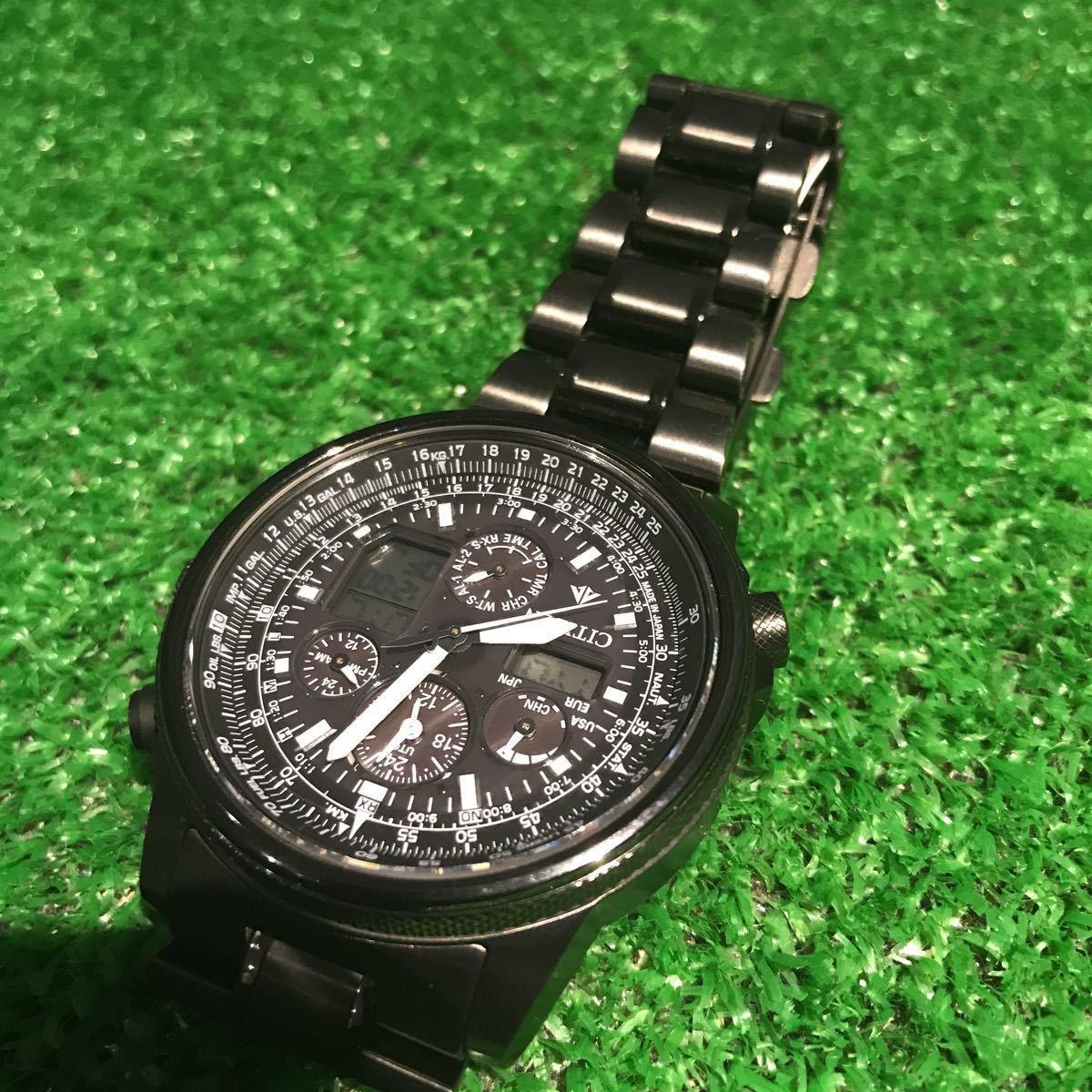新品同様1円~ 試着程度 シチズン U680-T019692 プロマスター チタン ソーラー 電波時計 アナデジ メンズ腕時計 60サイズ (62)_画像7