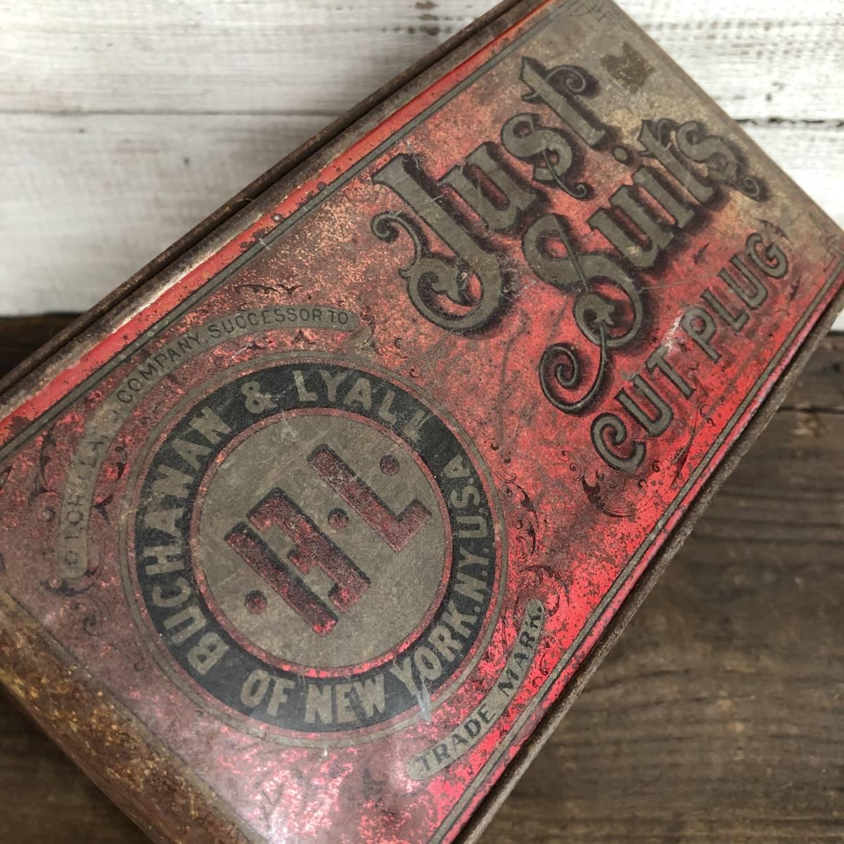 即決 Just Suits ヴィンテージ缶 タバコ USA / アメリカン雑貨 ガレージ ジャンク シャビー アンティーク 収納 古着 看板_画像10
