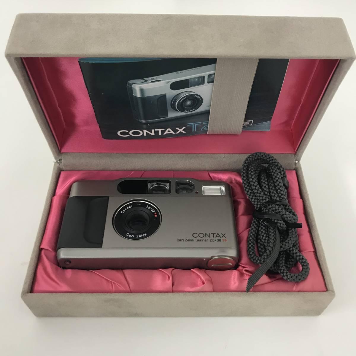 ★美品★ コンタックス CONTAX T2 Sonnar 38mm F2.8 T* コンパクトフィルムカメラ 取扱説明書 元箱 ケース ストラップ付