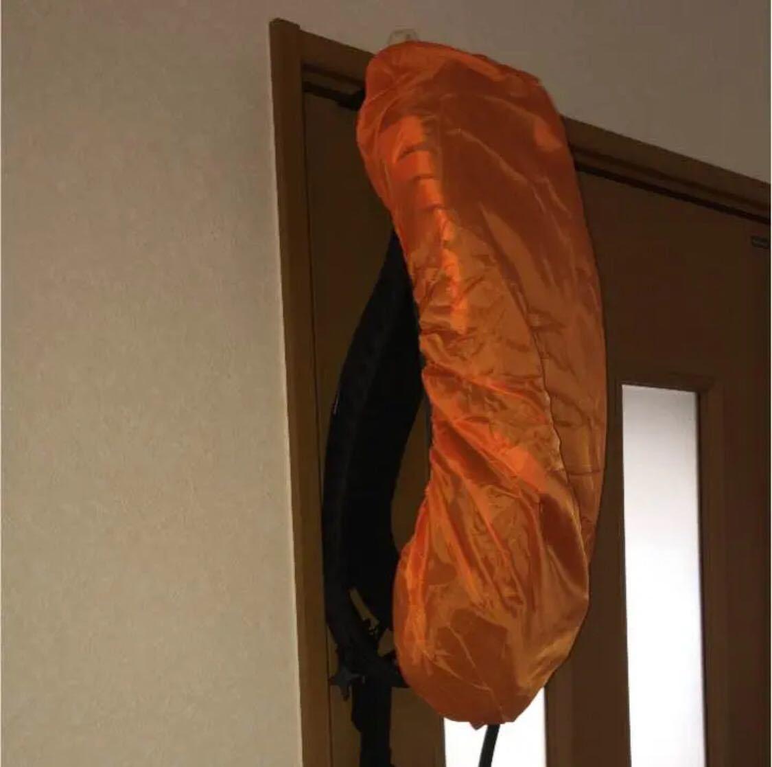 リュックサック レインカバー バックパック 防水カバー オレンジ 雨よけ ザックカバー