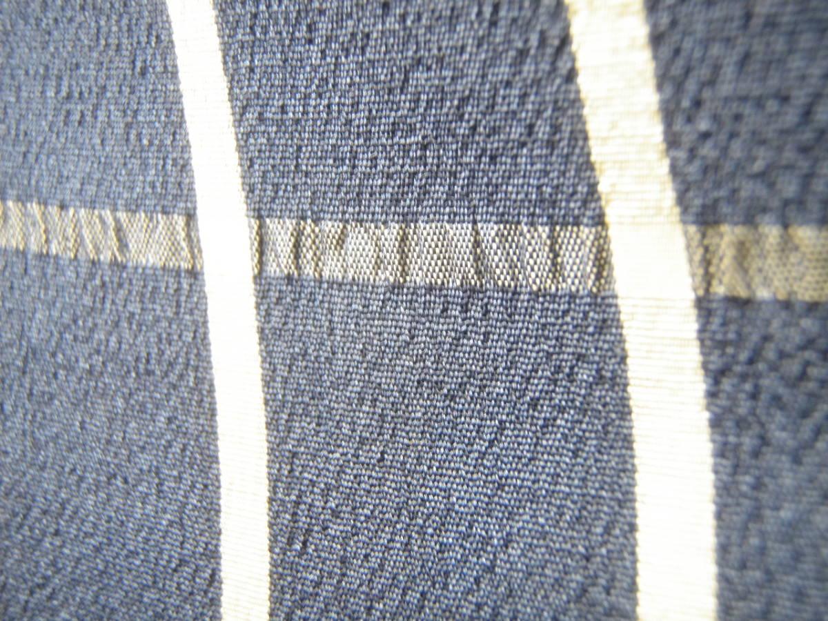 0738 夏着物 正絹 単衣 青色×灰色グレー 絽 紗 小紋 麻 格子市松文様 アンティーク 昭和レトロ 大正ロマン リメイク素材にもグッド _画像3
