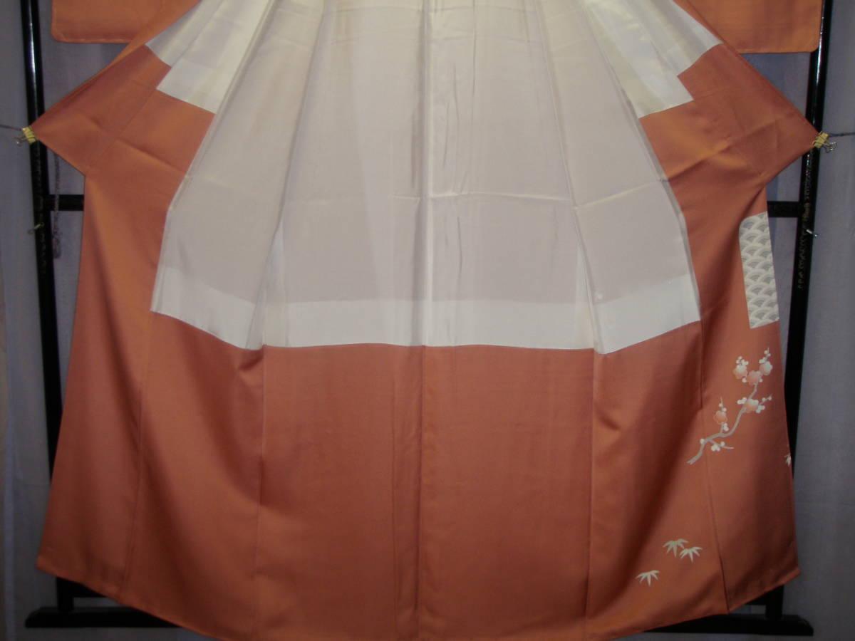 0765 着物 正絹 訪問着 色留袖 紋入 ピンク桜色 季節花文様 お祝い柄 お呼ばれ お茶会 お習い事_画像6
