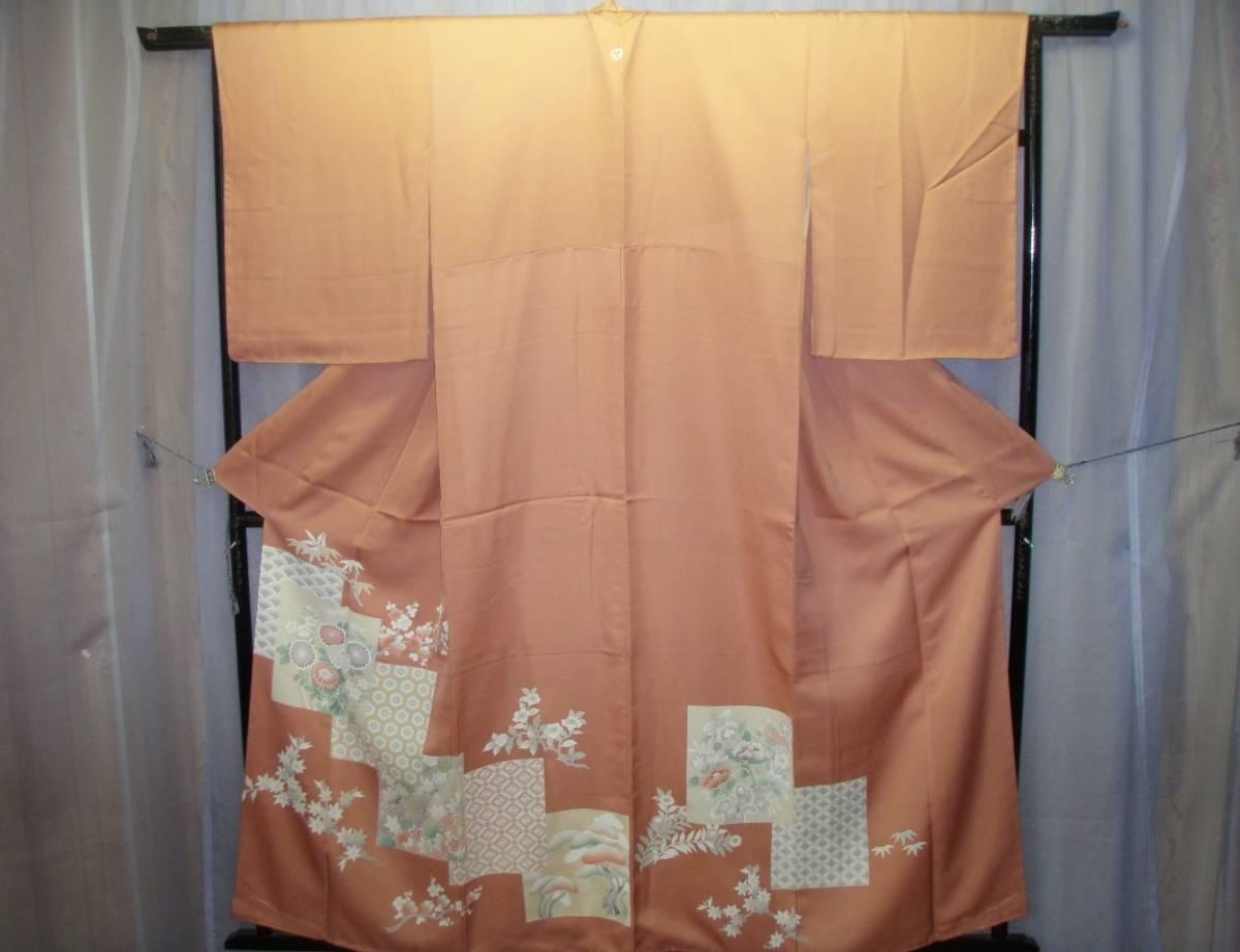 0765 着物 正絹 訪問着 色留袖 紋入 ピンク桜色 季節花文様 お祝い柄 お呼ばれ お茶会 お習い事