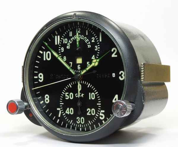 ソ連・ソビエト / コックピット クロック АЧС-1 / ACHS -1 ( 24432 B ) ミグ戦闘機 手巻式機械クロノグラフ_画像3