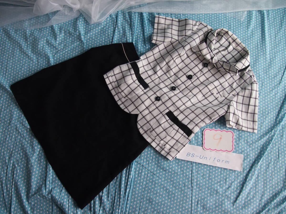 OL制服・事務服Amatir白格子柄オーバーブラウス・セロリー黒スカート 9号_画像5