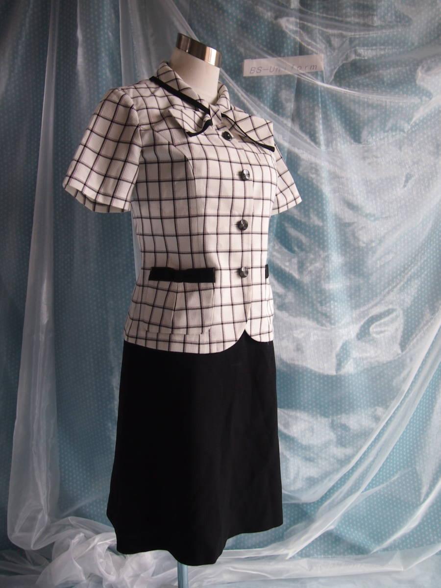 OL制服・事務服Amatir白格子柄オーバーブラウス・セロリー黒スカート 9号