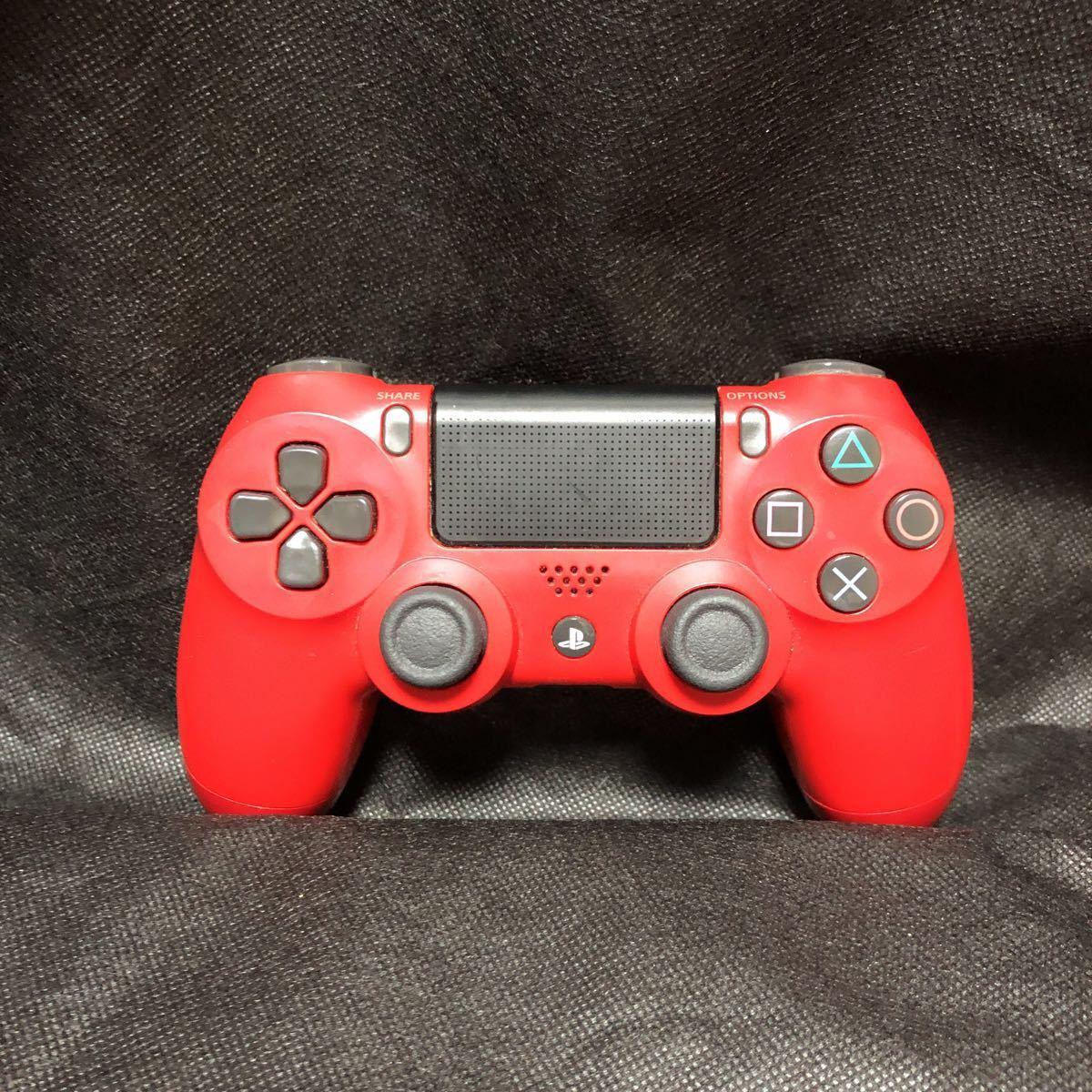 PS4ワイヤレスコントローラー (DUALSHOCK 4) マグマ・レッド (CUH-ZCT2J11) 二個セット 動作良好_画像2