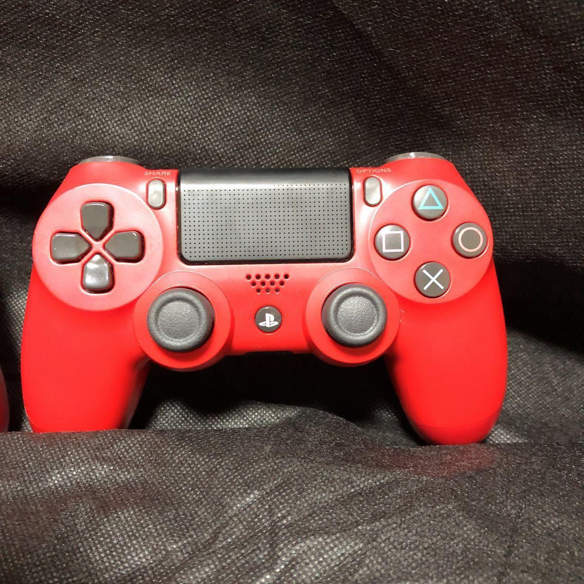 PS4ワイヤレスコントローラー (DUALSHOCK 4) マグマ・レッド (CUH-ZCT2J11) 二個セット 動作良好_画像3