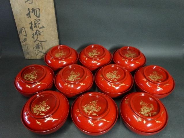 【広吉堂】菓子椀 漆器 木製 蒔絵 時代物 木箱付き 美品 10客A_画像1