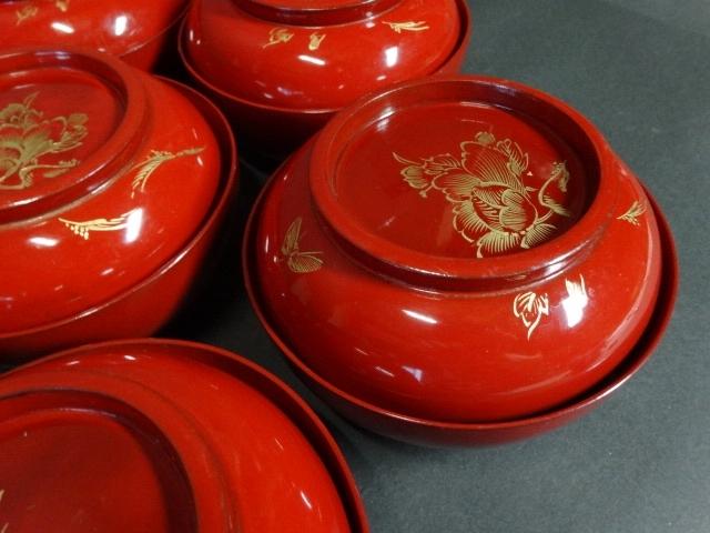【広吉堂】菓子椀 漆器 木製 蒔絵 時代物 木箱付き 美品 10客A_画像3